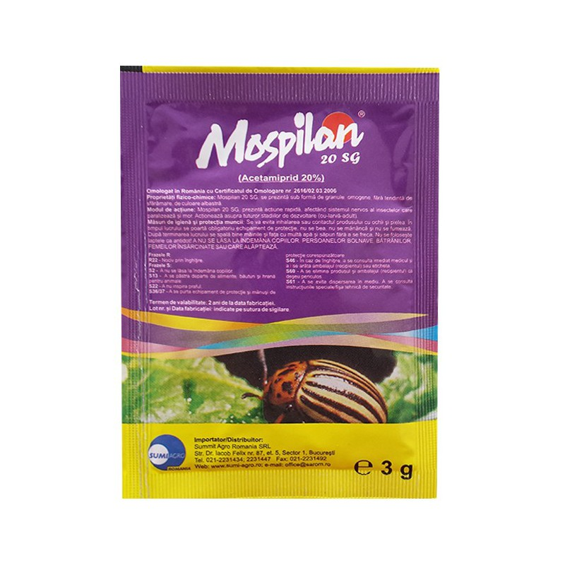 Insecticid sistemic Mospilan 20 SG - 3 gr.
