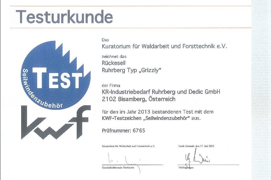 Certificat de testare kwf cablu forestier Grizzly
