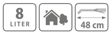 Caracteristici pompa manuala de presiune cu rezervor de 8 litri