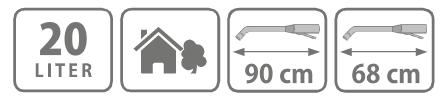 Caracteristici pompa manuala de presiune, tip rucsac 20 l