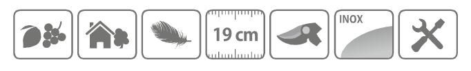 Caracteristici foarfeca profesionala pentru recoltare din otel inoxidabil, cu varf, 19 cm