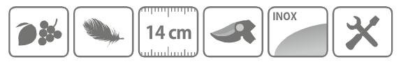 334 Caracteristici foarfeca profesionala pentru recoltare din otel inoxidabil cu varf 14 cm
