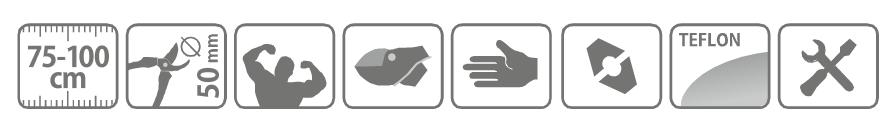 Caracteristici cleste cu clichet pentru taiat crengi, cu maner telescopic 75 - 100 cm