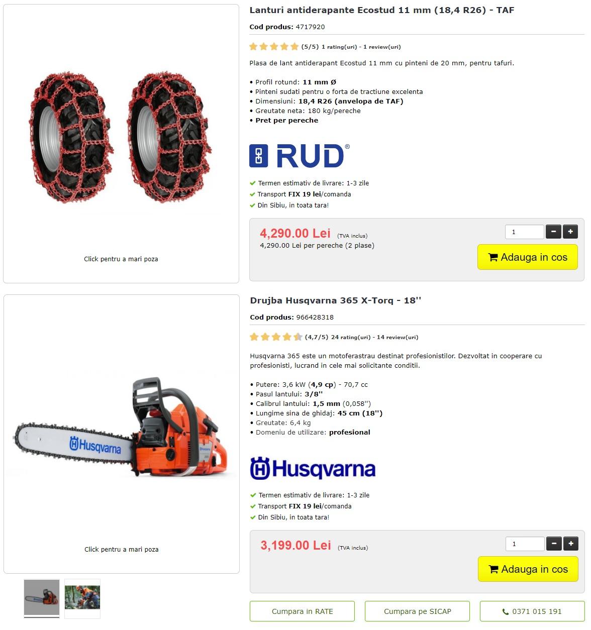 Pachet promotional Husqvarna 365 + Lanturi Ecostud TAF 18,4 R26