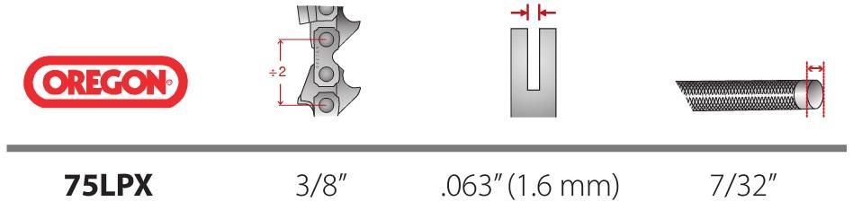 Lant Oregon 75LPX 3/8 1,6 mm - Verdon