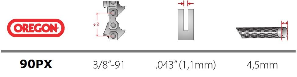 Lant Oregon 90PX 3/8 1,1 mm Bosch - Verdon