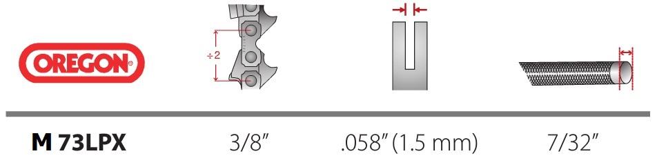 Lant Oregon M73LPX 3/8 1,5 mm MultiCut - Verdon