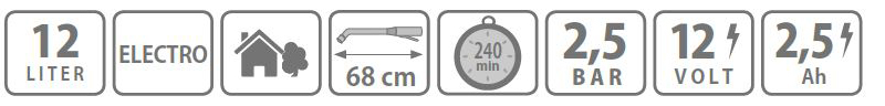Caracteristici pompa tip rucsac Electro 12 litri Stocker