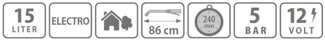 Caracteristici pompa tip rucsac Electro 15 litri Stocker