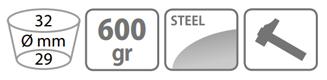 Caracteristici sapa Stocker 600 g cu lama patrata doi colti si coada de lemn