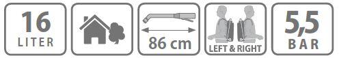 Caracteristici pompa manuala de presiune Stocker 16l