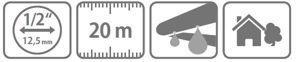 """Caracteristici tub poros ½"""" - 20 m cu conector furtun"""""""