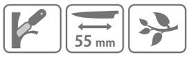 Caracteristic cutit pentru altoit Stocker cu lama secera (55 mm)