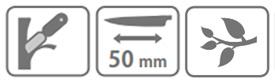Caracteristici cutit pentru altoit Stocker L (50 mm)