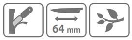 Caracteristic cutit pentru altoit Stocker cu lama secera (64 mm)