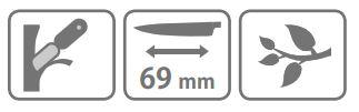 Caracteristic cutit pentru altoit Stocker cu lama secera (69 mm)