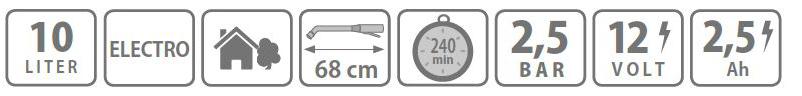 Caracteristici pompa tip rucsac Electro 10 litri Stocker