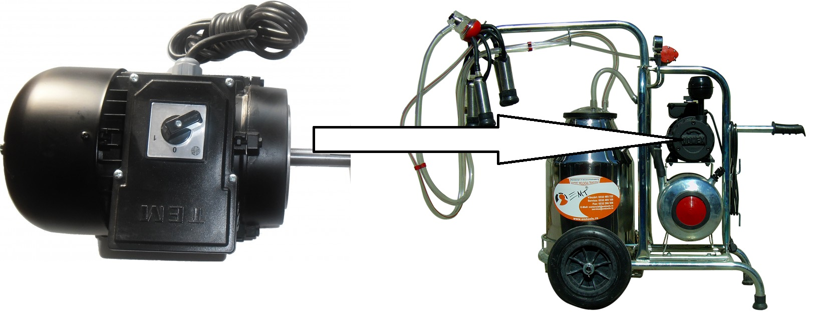 Kit motor mixt pentru aparatele de muls